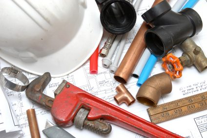 Plumbing parts, tools, and plans used by Jimmi The Plumber.